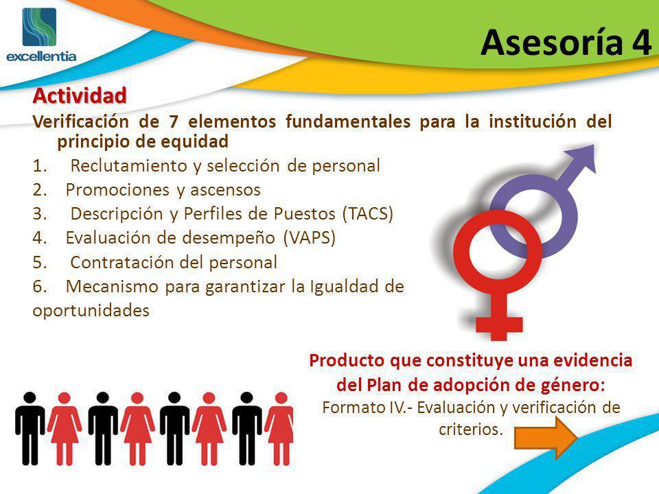 Asesoría 4 Actividad. Verificación de 7 elementos fundamentales para la institución del principio de equidad.
