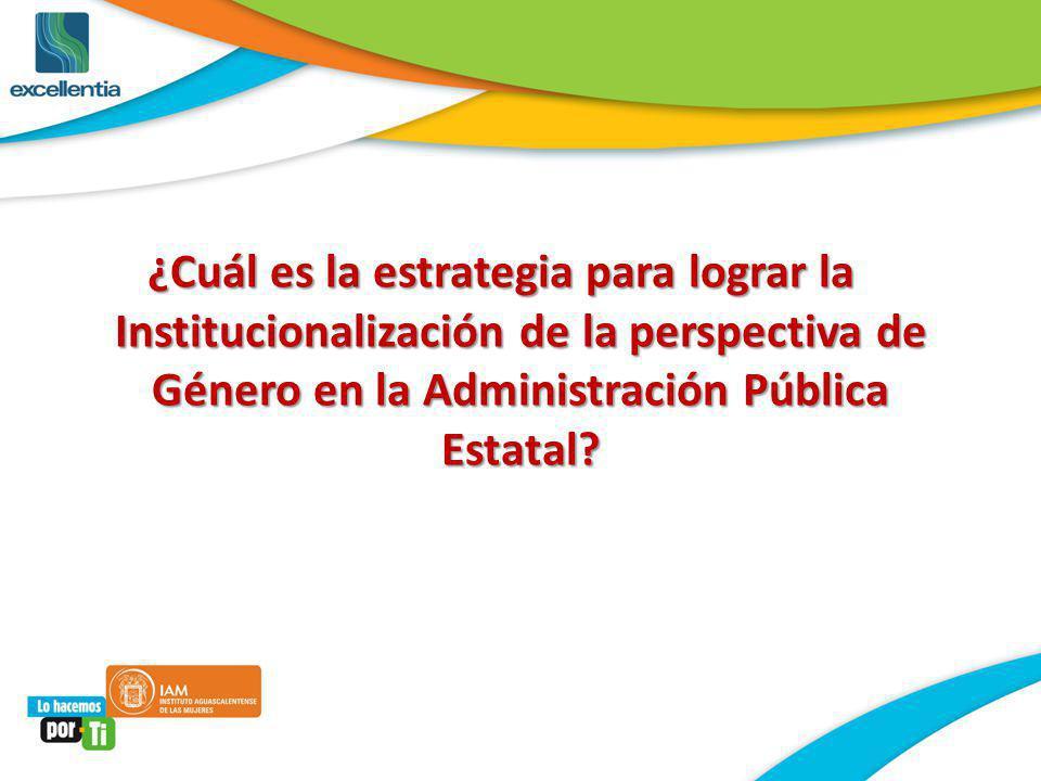¿Cuál es la estrategia para lograr la Institucionalización de la perspectiva de Género en la Administración Pública Estatal