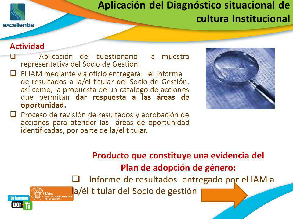 Aplicación del Diagnóstico situacional de cultura Institucional