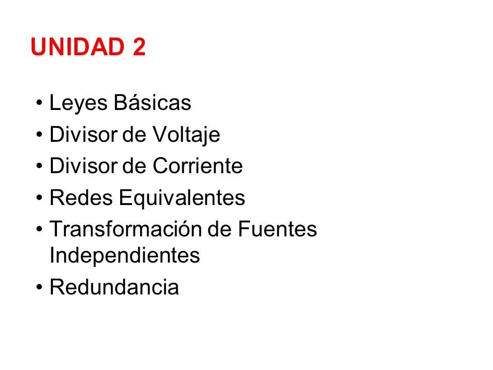 UNIDAD 2 Leyes Básicas Divisor de Voltaje Divisor de Corriente