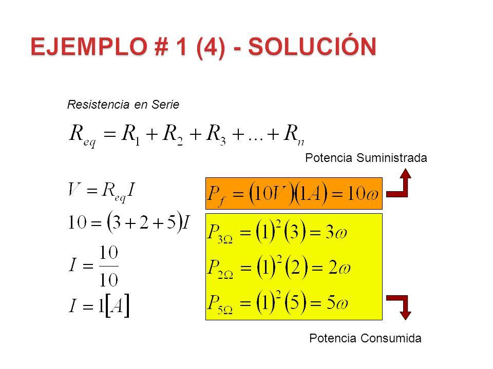 EJEMPLO # 1 (4) - Solución Resistencia en Serie Potencia Suministrada