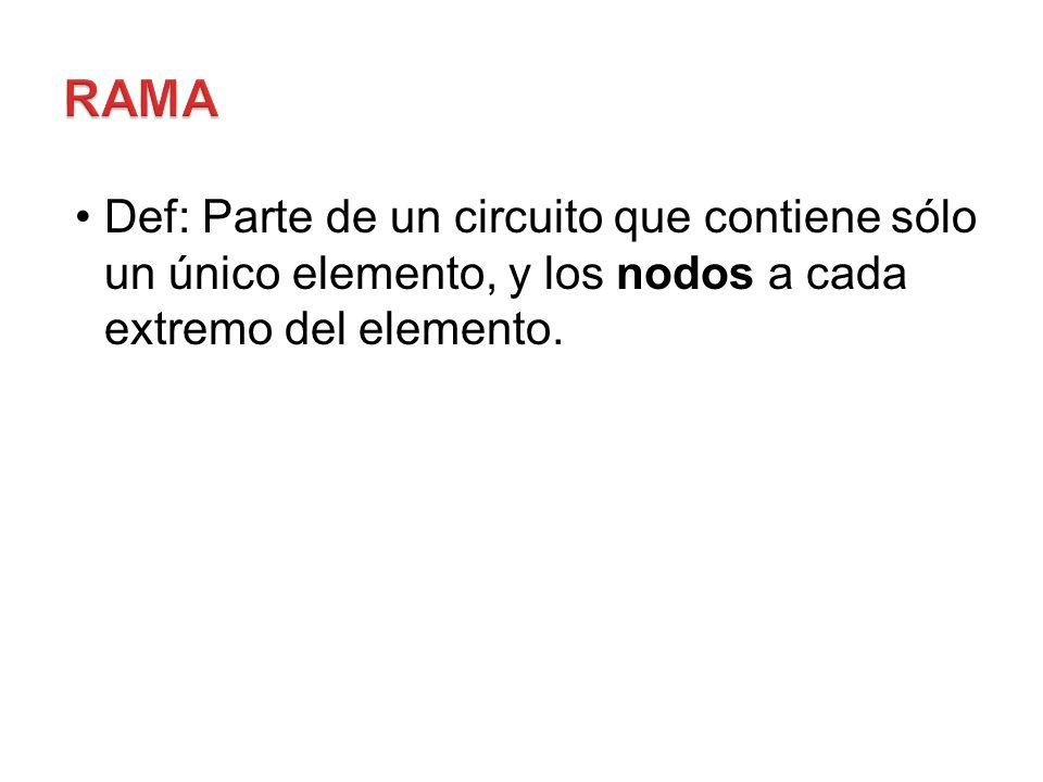 Rama Def: Parte de un circuito que contiene sólo un único elemento, y los nodos a cada extremo del elemento.
