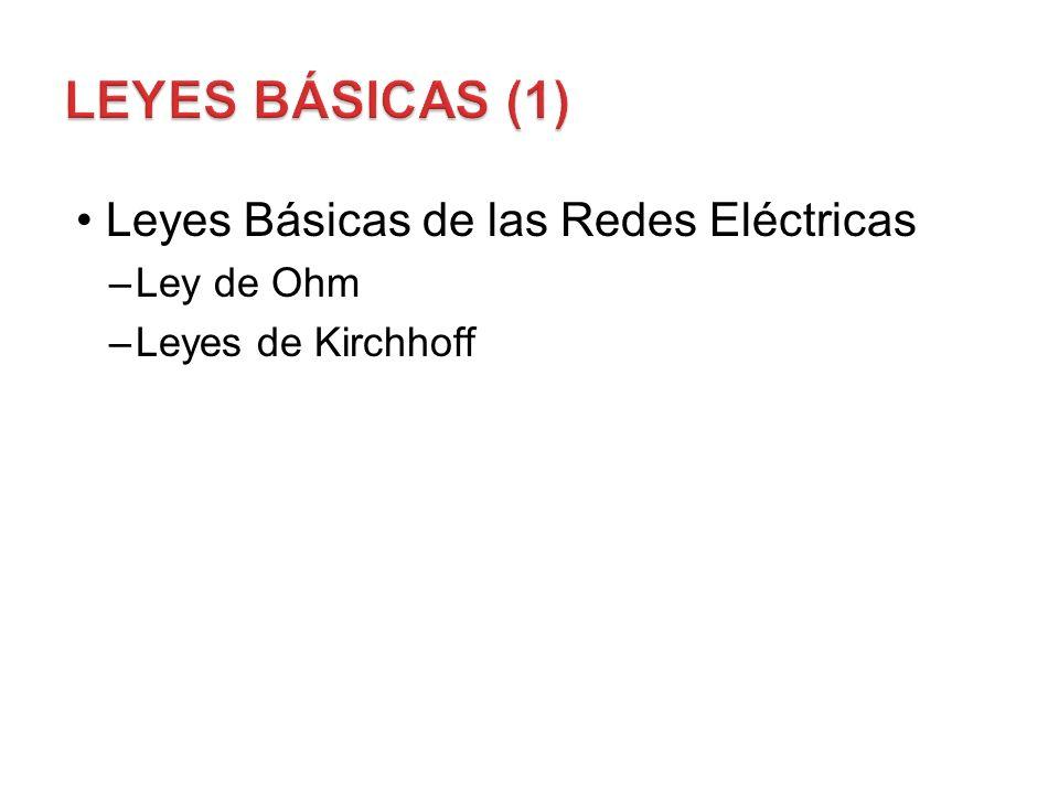 Leyes Básicas (1) Leyes Básicas de las Redes Eléctricas Ley de Ohm