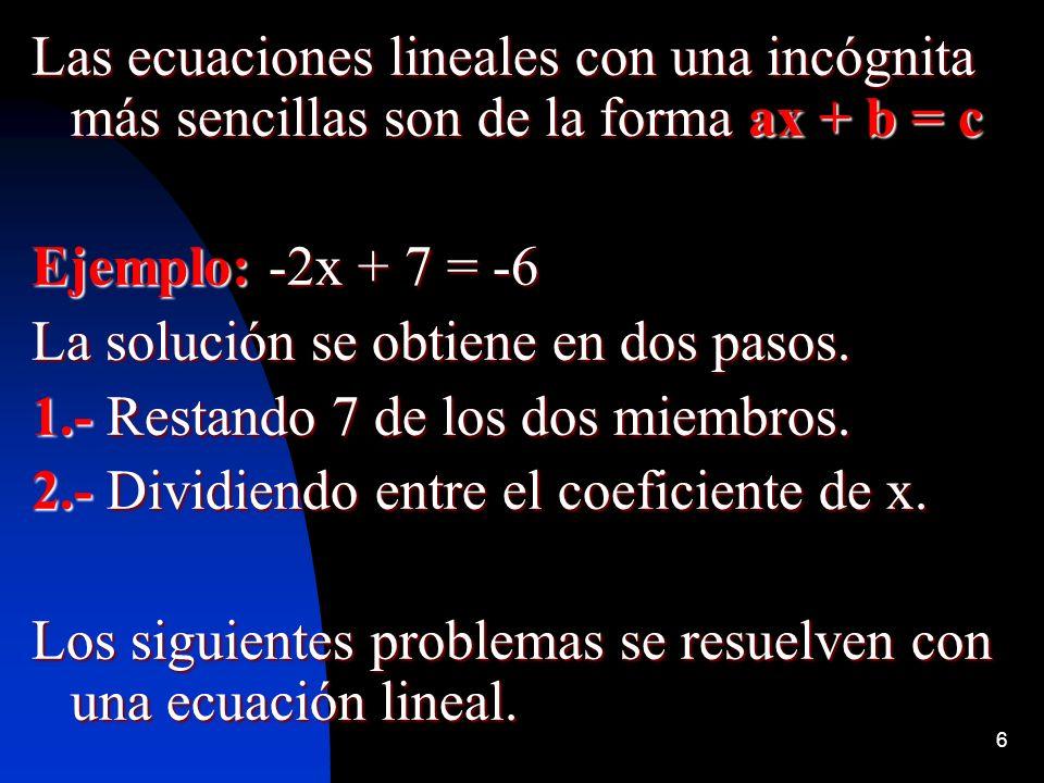 Las ecuaciones lineales con una incógnita más sencillas son de la forma ax + b = c