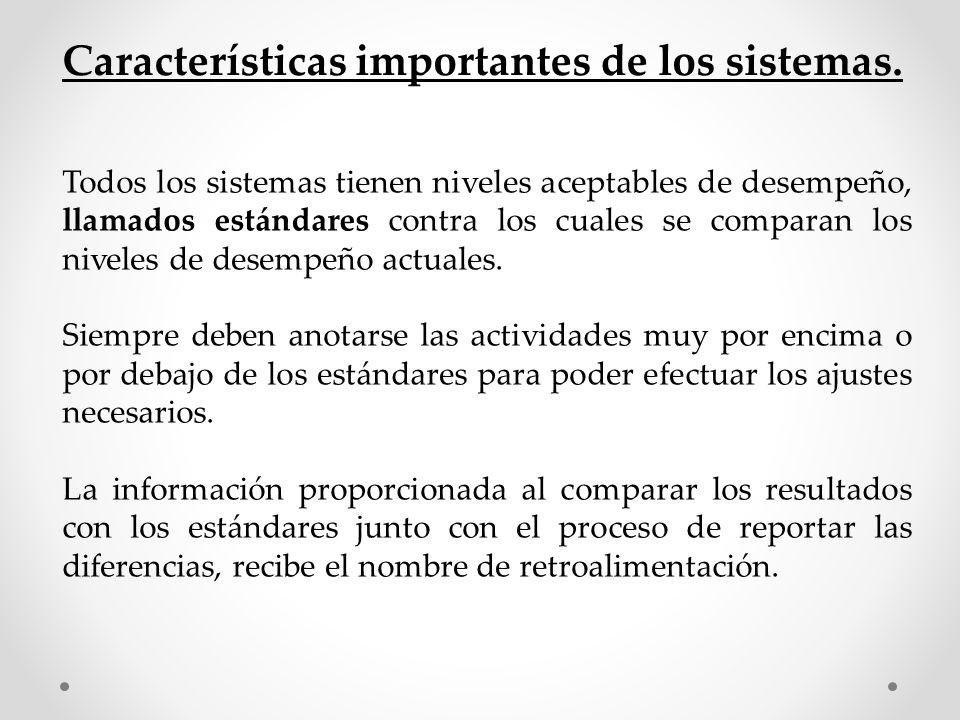 Características importantes de los sistemas.