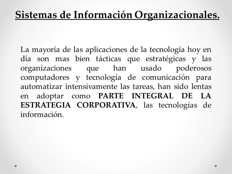 Sistemas de Información Organizacionales.