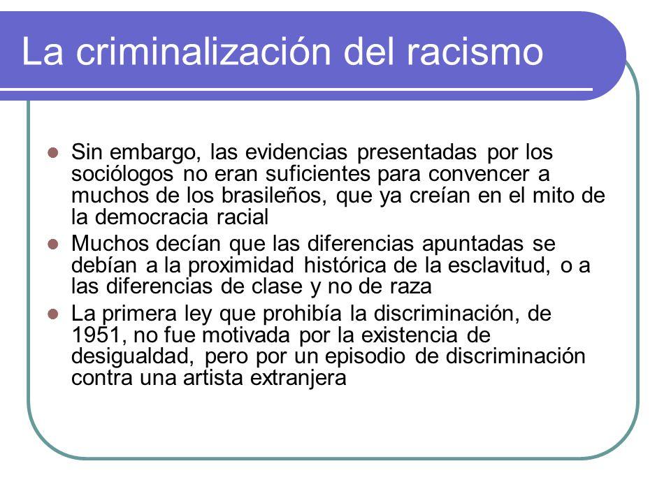 La criminalización del racismo