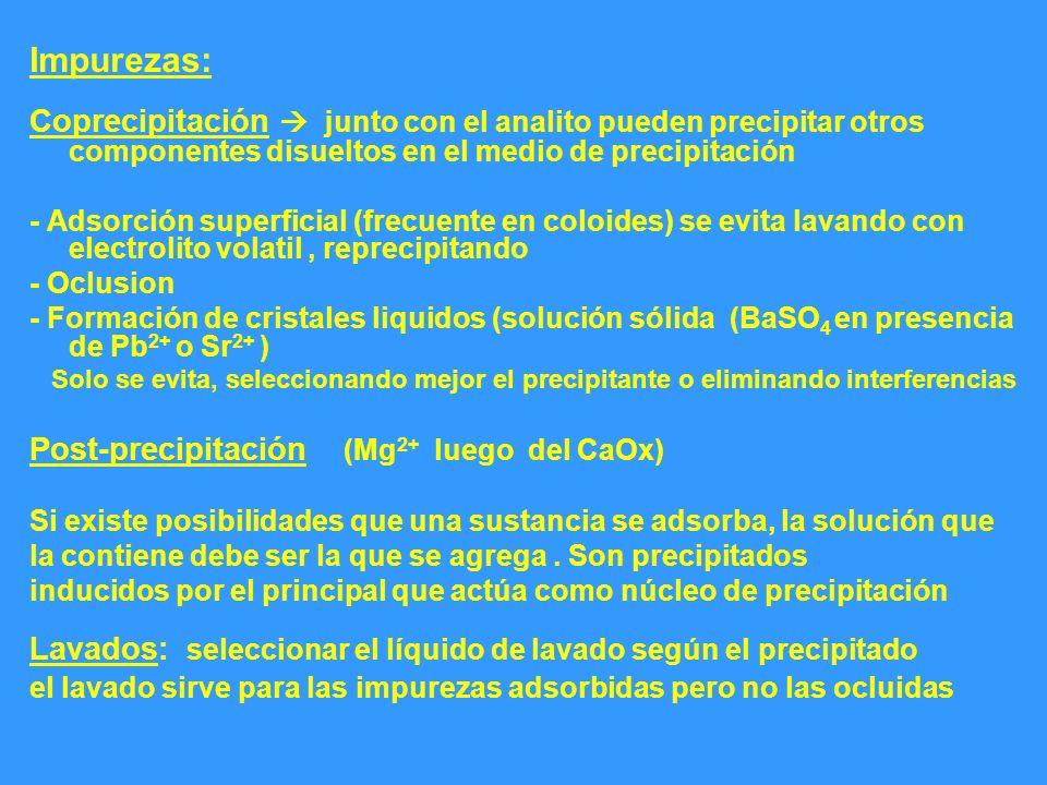 Impurezas: Coprecipitación  junto con el analito pueden precipitar otros componentes disueltos en el medio de precipitación.