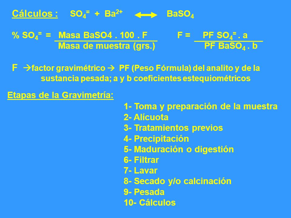 Cálculos :. SO4= + Ba2+ BaSO4 % SO4= = Masa BaSO4. 100. F F = PF SO4=