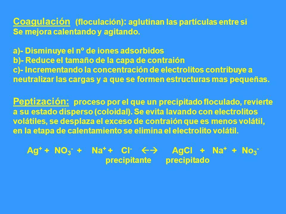Coagulación (floculación): aglutinan las partículas entre si