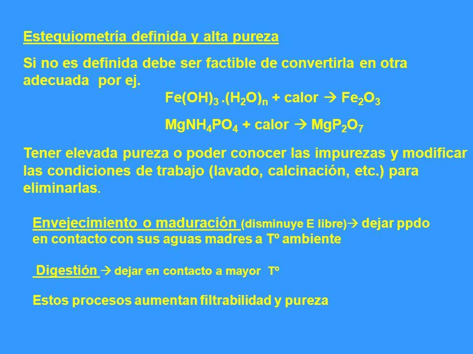Estequiometría definida y alta pureza