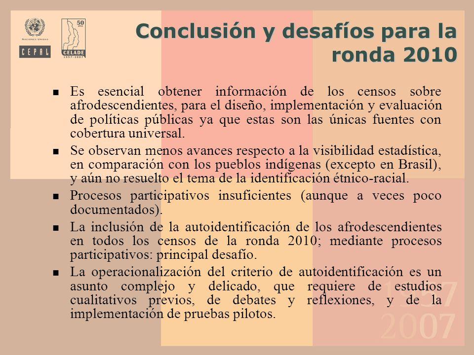 Conclusión y desafíos para la ronda 2010