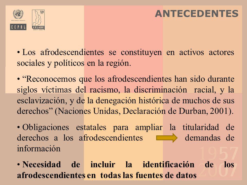 ANTECEDENTES Los afrodescendientes se constituyen en activos actores sociales y políticos en la región.