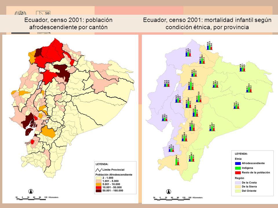 Ecuador, censo 2001: población afrodescendiente por cantón