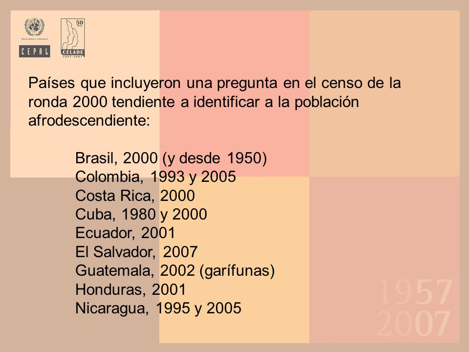 Guatemala, 2002 (garífunas) Honduras, 2001 Nicaragua, 1995 y 2005