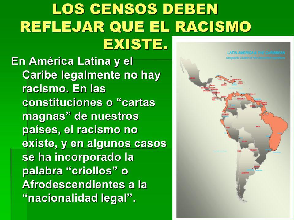 LOS CENSOS DEBEN REFLEJAR QUE EL RACISMO EXISTE.