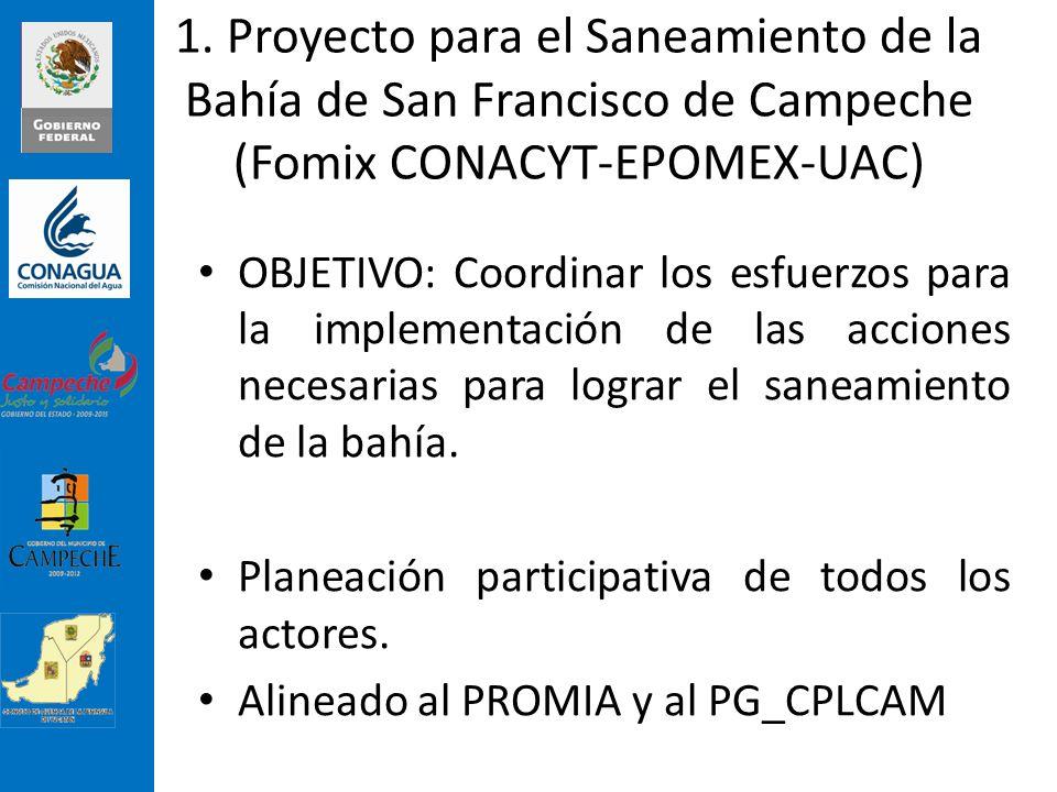 1. Proyecto para el Saneamiento de la Bahía de San Francisco de Campeche (Fomix CONACYT-EPOMEX-UAC)