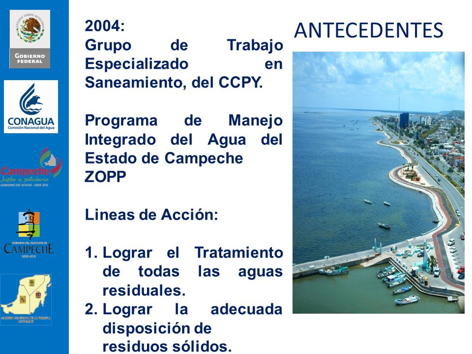 ANTECEDENTES 2004: Grupo de Trabajo Especializado en Saneamiento, del CCPY. Programa de Manejo Integrado del Agua del Estado de Campeche.