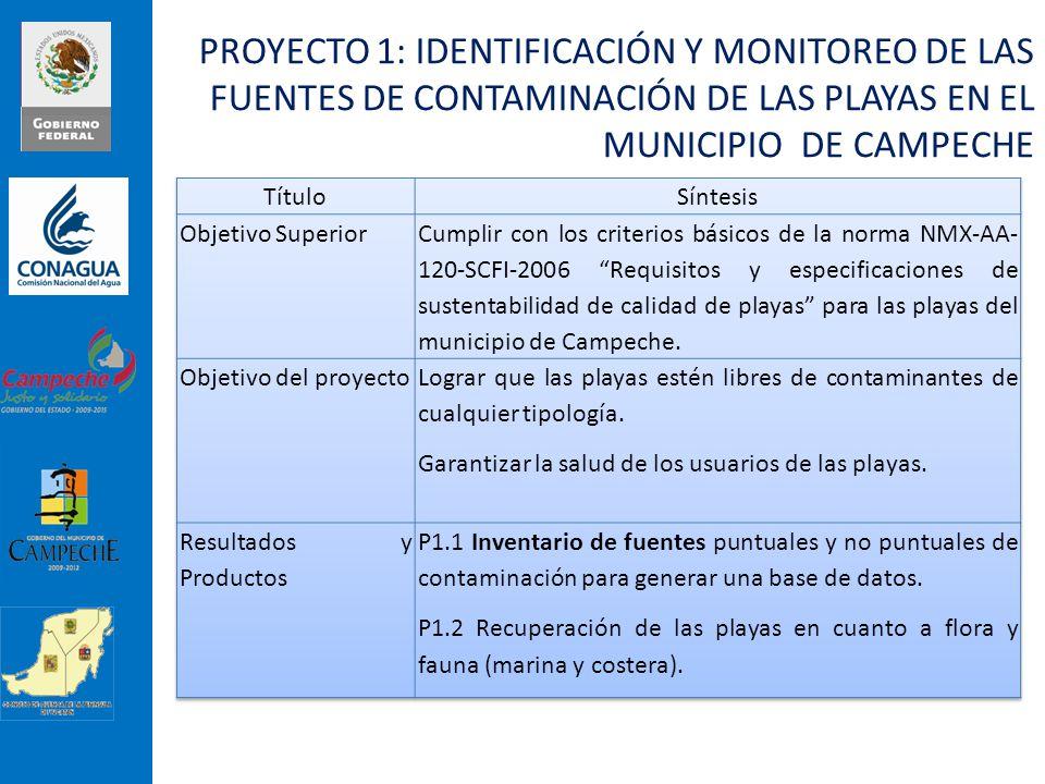 PROYECTO 1: IDENTIFICACIÓN Y MONITOREO DE LAS FUENTES DE CONTAMINACIÓN DE LAS PLAYAS EN EL MUNICIPIO DE CAMPECHE
