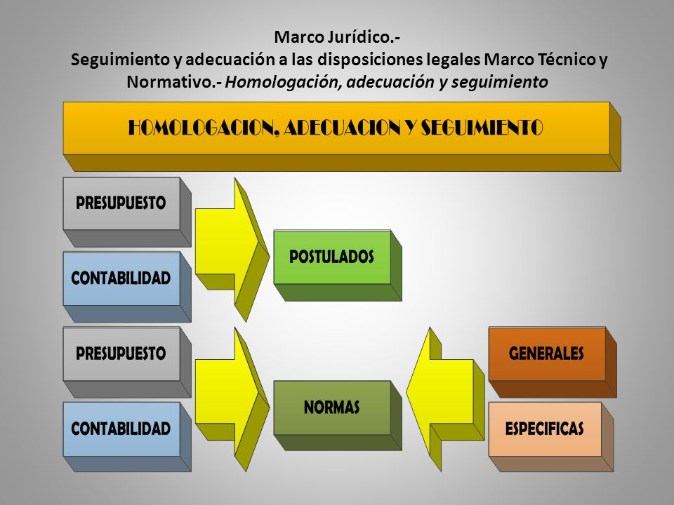 Marco Jurídico.- Seguimiento y adecuación a las disposiciones legales Marco Técnico y Normativo.- Homologación, adecuación y seguimiento