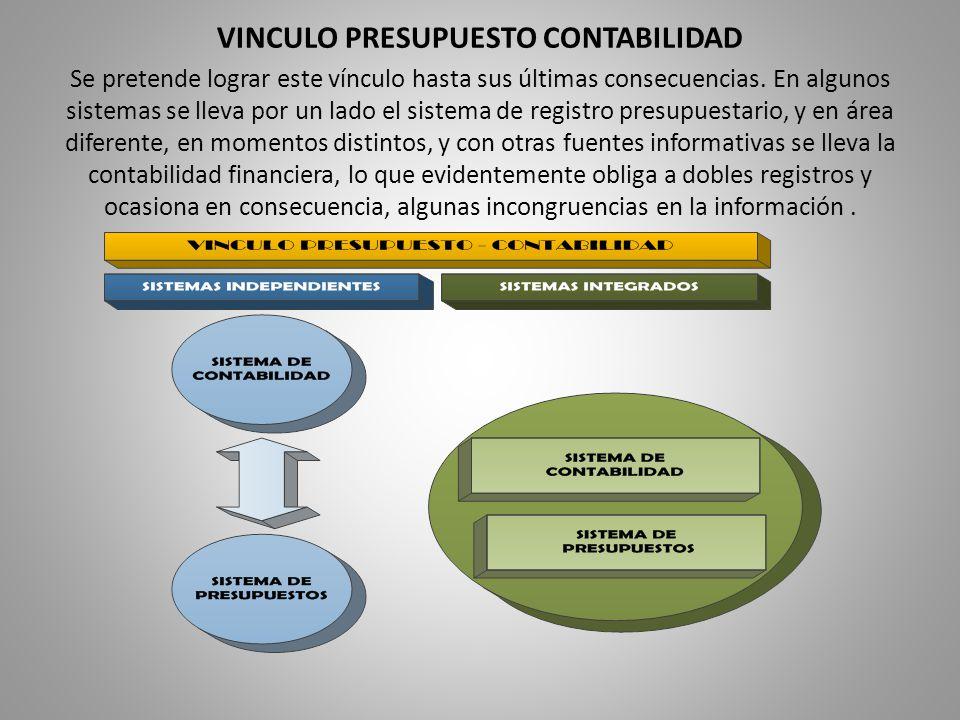 VINCULO PRESUPUESTO CONTABILIDAD Se pretende lograr este vínculo hasta sus últimas consecuencias.