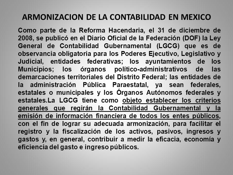 ARMONIZACION DE LA CONTABILIDAD EN MEXICO