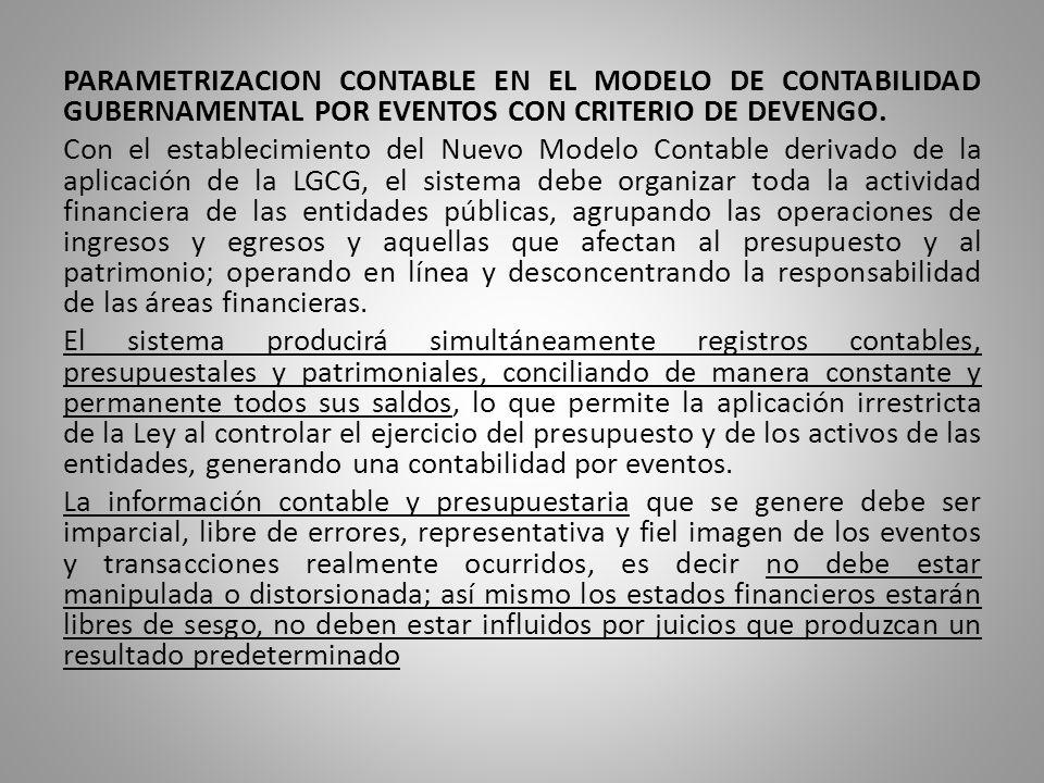 PARAMETRIZACION CONTABLE EN EL MODELO DE CONTABILIDAD GUBERNAMENTAL POR EVENTOS CON CRITERIO DE DEVENGO.