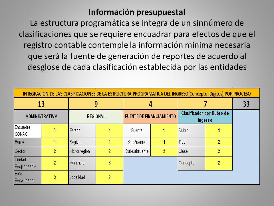Información presupuestal La estructura programática se integra de un sinnúmero de clasificaciones que se requiere encuadrar para efectos de que el registro contable contemple la información mínima necesaria que será la fuente de generación de reportes de acuerdo al desglose de cada clasificación establecida por las entidades