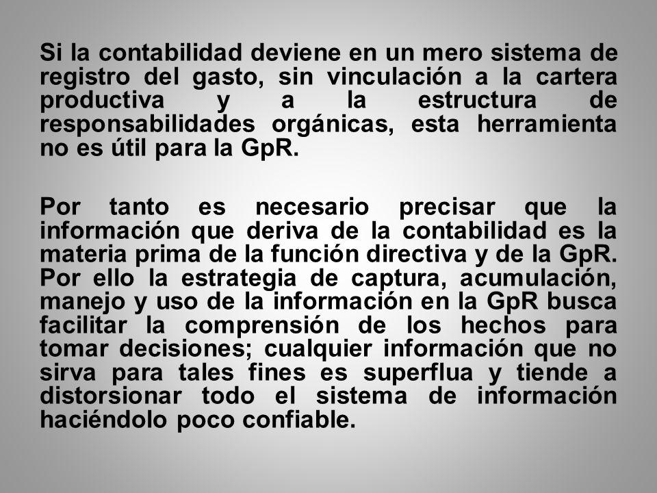 Si la contabilidad deviene en un mero sistema de registro del gasto, sin vinculación a la cartera productiva y a la estructura de responsabilidades orgánicas, esta herramienta no es útil para la GpR.