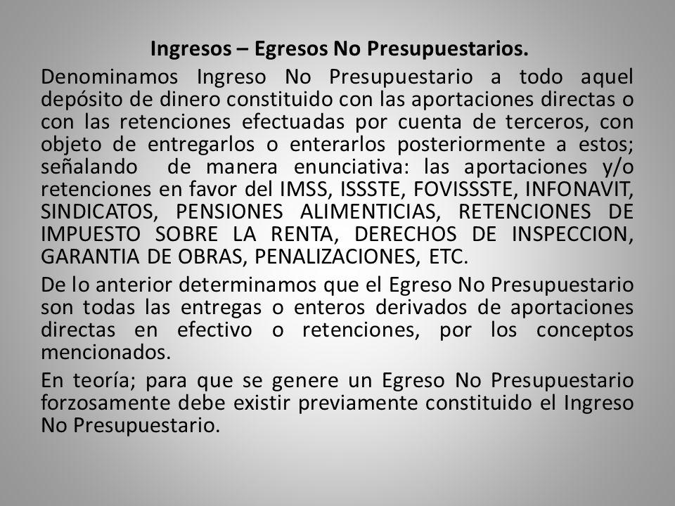 Ingresos – Egresos No Presupuestarios.