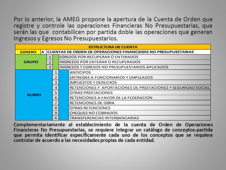 Por lo anterior, la AMEG propone la apertura de la Cuenta de Orden que registre y controle las operaciones Financieras No Presupuestarias, que serán las que contabilicen por partida doble las operaciones que generan Ingresos y Egresos No Presupuestarios.