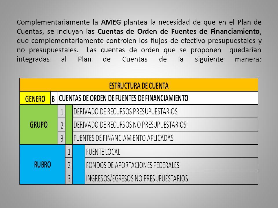 Complementariamente la AMEG plantea la necesidad de que en el Plan de Cuentas, se incluyan las Cuentas de Orden de Fuentes de Financiamiento, que complementariamente controlen los flujos de efectivo presupuestales y no presupuestales.
