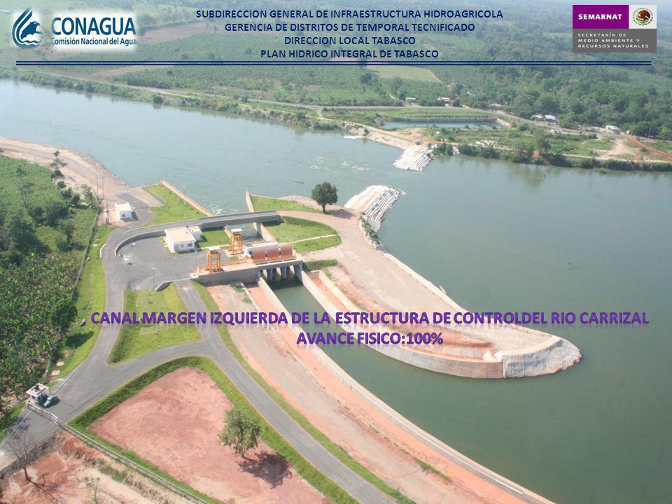 CANAL MARGEN IZQUIERDA DE LA ESTRUCTURA DE CONTROLDEL RIO CARRIZAL