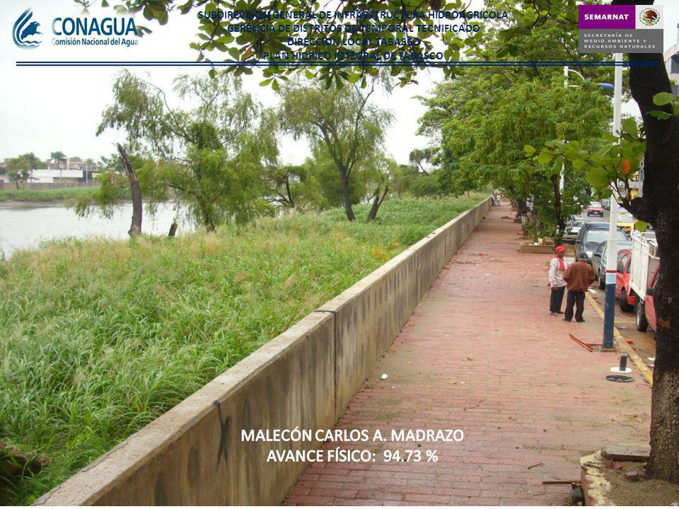 MALECÓN CARLOS A. MADRAZO AVANCE FÍSICO: 94.73 %