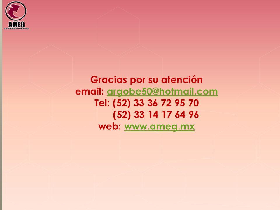 Gracias por su atención email: argobe50@hotmail.com Tel: (52) 33 36 72 95 70 (52) 33 14 17 64 96 web: www.ameg.mx