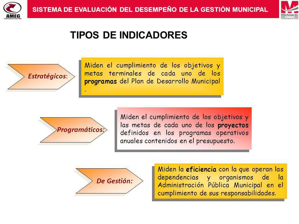 TIPOS DE INDICADORES Estratégicos: Programáticos: De Gestión: