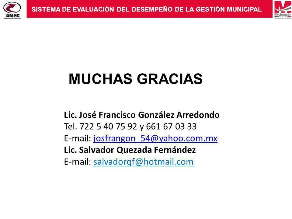 MUCHAS GRACIAS Lic. José Francisco González Arredondo