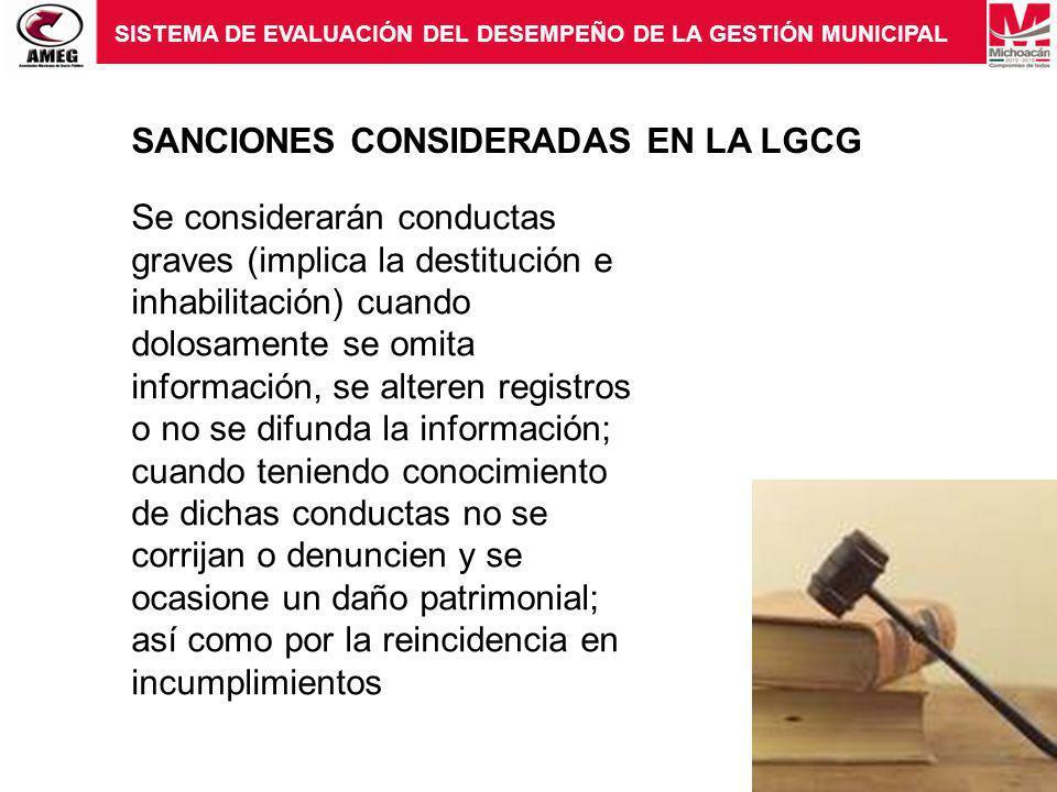 SANCIONES CONSIDERADAS EN LA LGCG