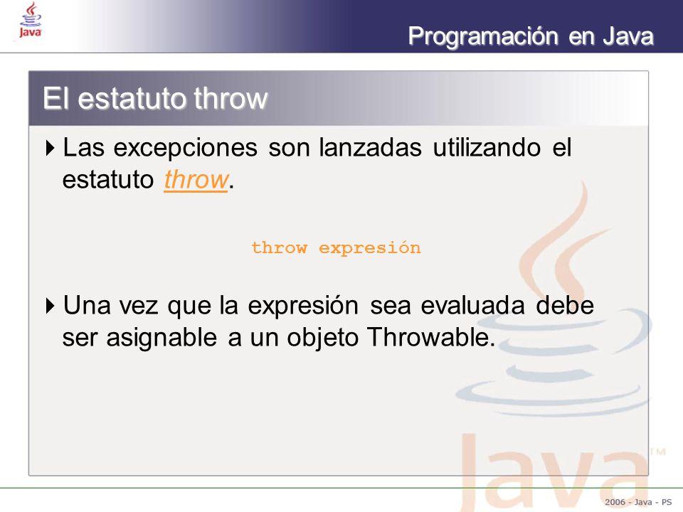 El estatuto throw Las excepciones son lanzadas utilizando el estatuto throw. throw expresión.