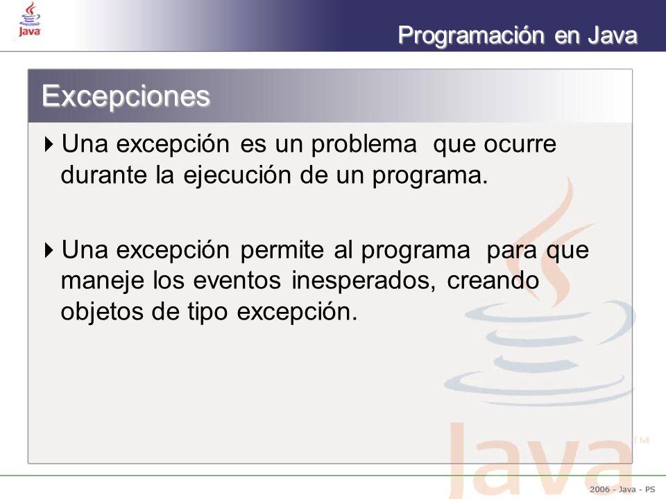 Excepciones Una excepción es un problema que ocurre durante la ejecución de un programa.