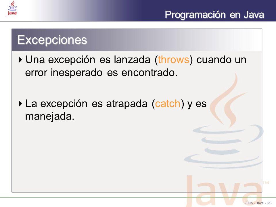 Excepciones Una excepción es lanzada (throws) cuando un error inesperado es encontrado.