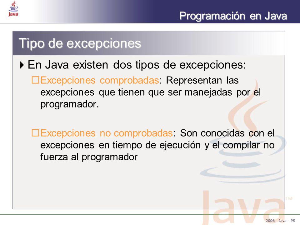 Tipo de excepciones En Java existen dos tipos de excepciones: