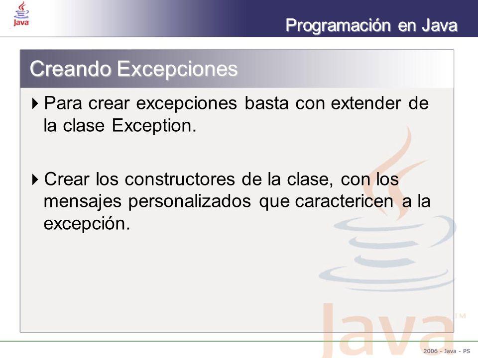 Creando Excepciones Para crear excepciones basta con extender de la clase Exception.