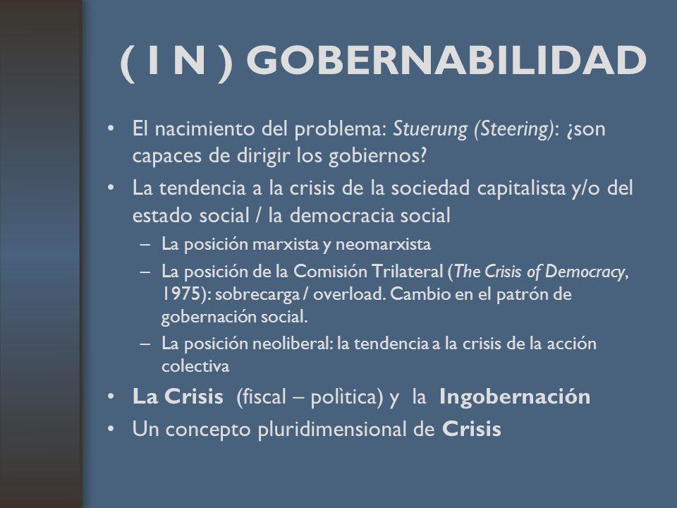 ( I N ) GOBERNABILIDAD El nacimiento del problema: Stuerung (Steering): ¿son capaces de dirigir los gobiernos