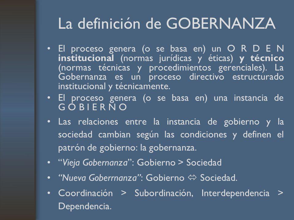 La definición de GOBERNANZA