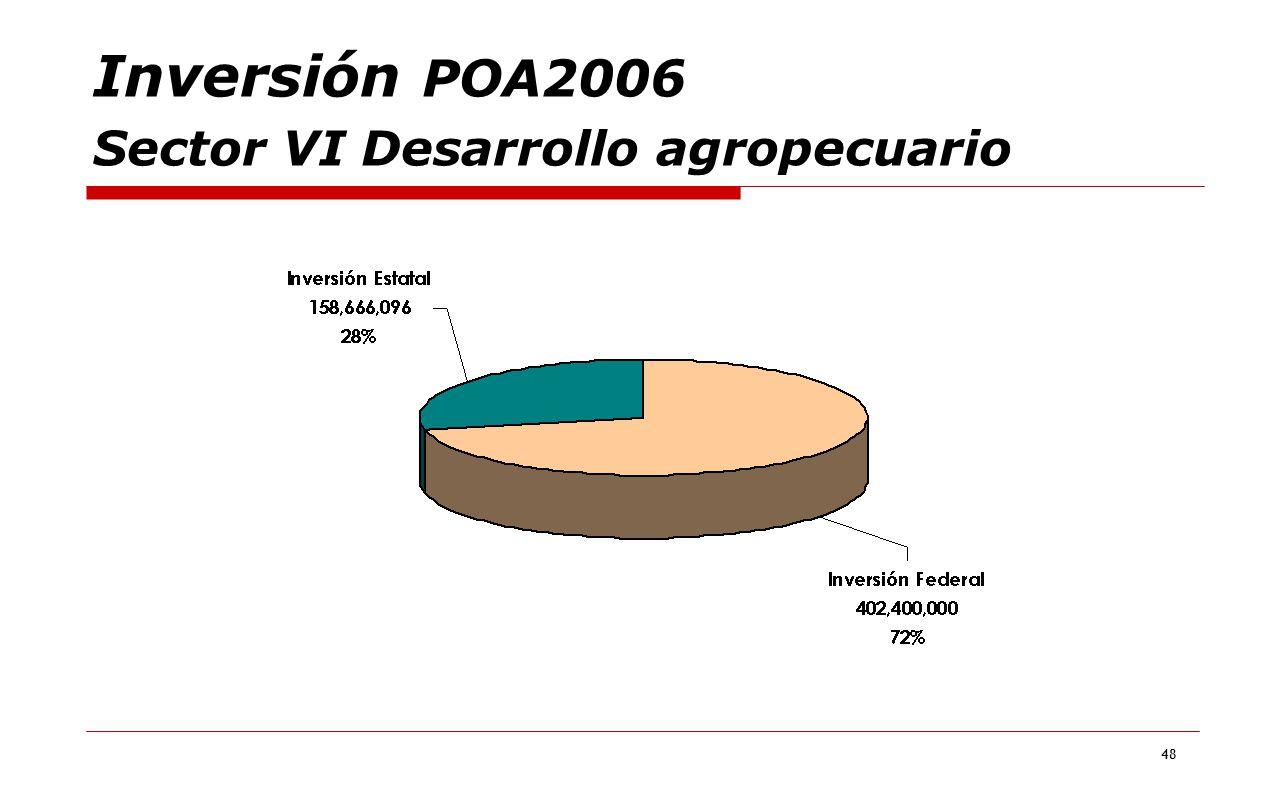 Inversión POA2006 Sector VI Desarrollo agropecuario