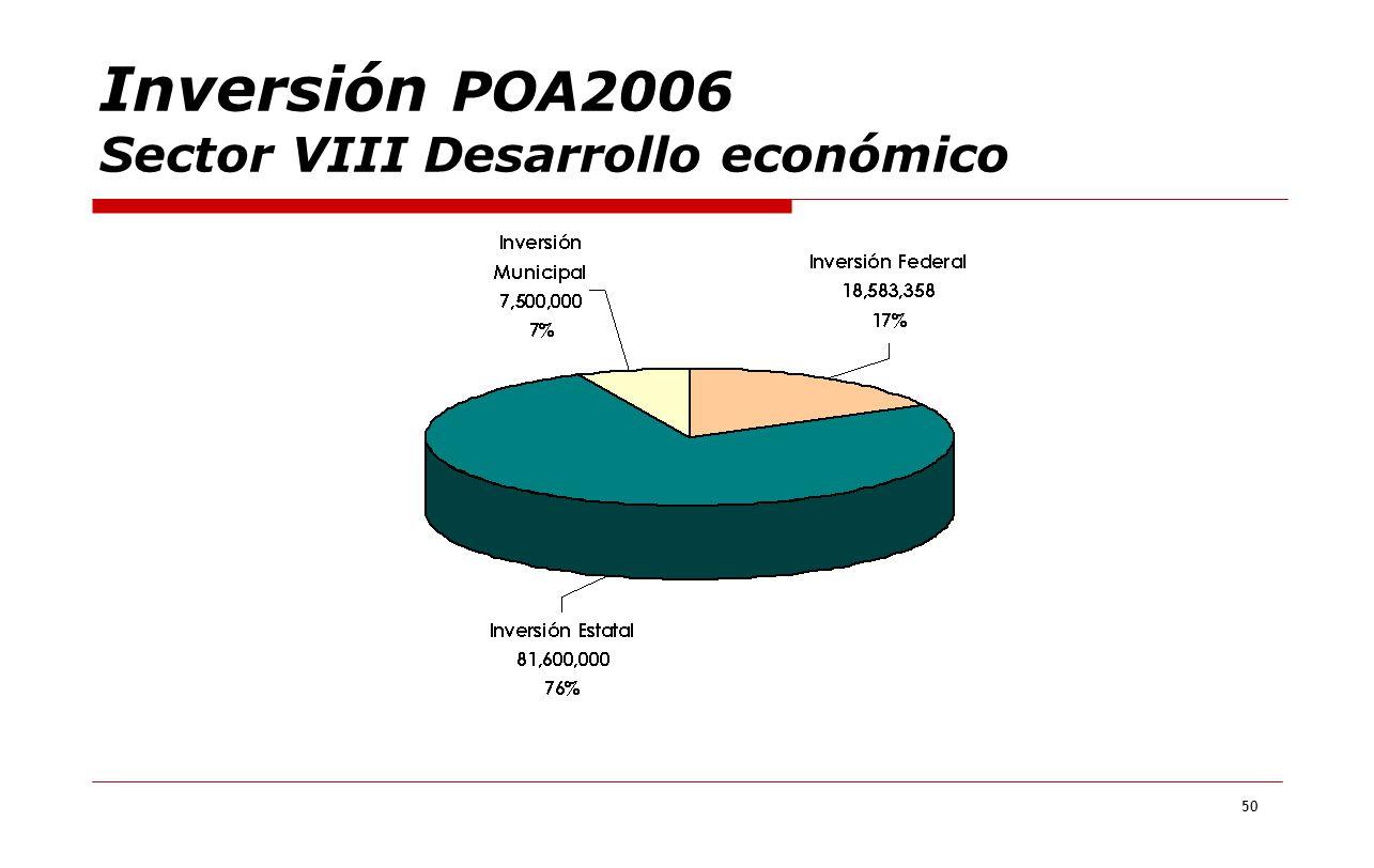 Inversión POA2006 Sector VIII Desarrollo económico
