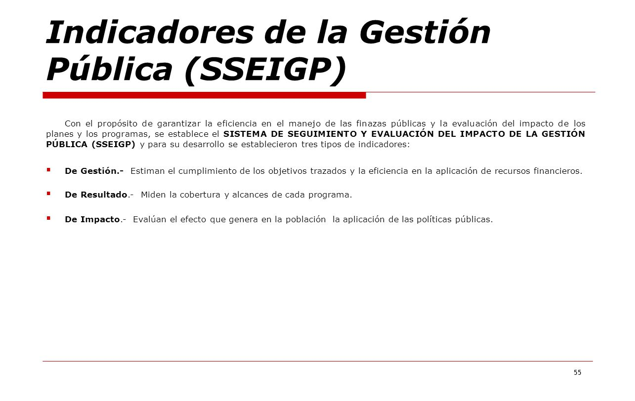 Indicadores de la Gestión Pública (SSEIGP)