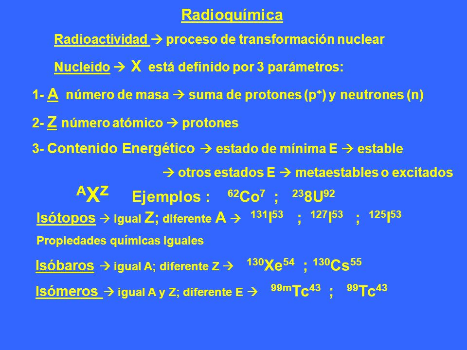 AXZ Ejemplos : 62Co7 ; 238U92 Radioquímica