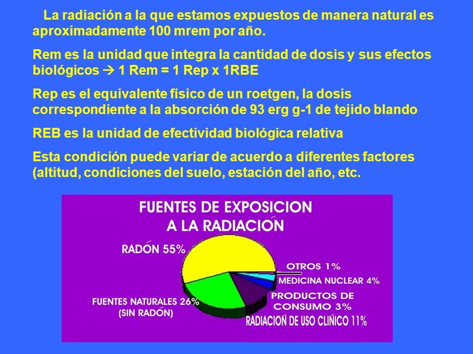 La radiación a la que estamos expuestos de manera natural es aproximadamente 100 mrem por año.